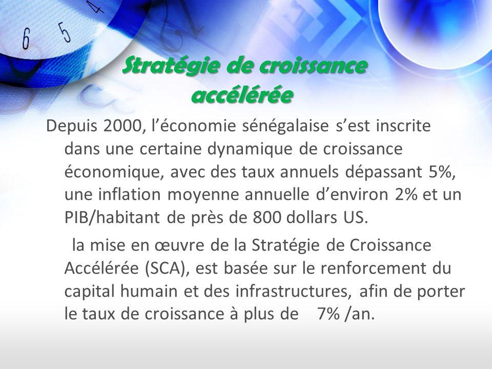Stratégie de croissance accélérée Stratégie de croissance accélérée Depuis 2000, léconomie sénégalaise sest inscrite dans une certaine dynamique de croissance économique, avec des taux annuels dépassant 5%, une inflation moyenne annuelle denviron 2% et un PIB/habitant de près de 800 dollars US.