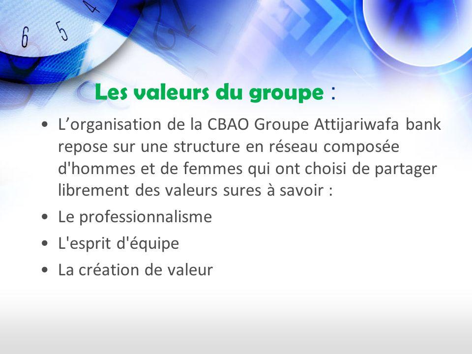 Les valeurs du groupe : Lorganisation de la CBAO Groupe Attijariwafa bank repose sur une structure en réseau composée d hommes et de femmes qui ont choisi de partager librement des valeurs sures à savoir : Le professionnalisme L esprit d équipe La création de valeur