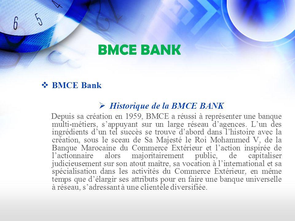 BMCE BANK BMCE Bank Historique de la BMCE BANK Depuis sa création en 1959, BMCE a réussi à représenter une banque multi-métiers, sappuyant sur un large réseau dagences.