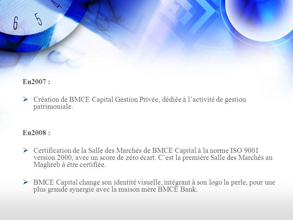 En2007 : Création de BMCE Capital Gestion Privée, dédiée à lactivité de gestion patrimoniale.