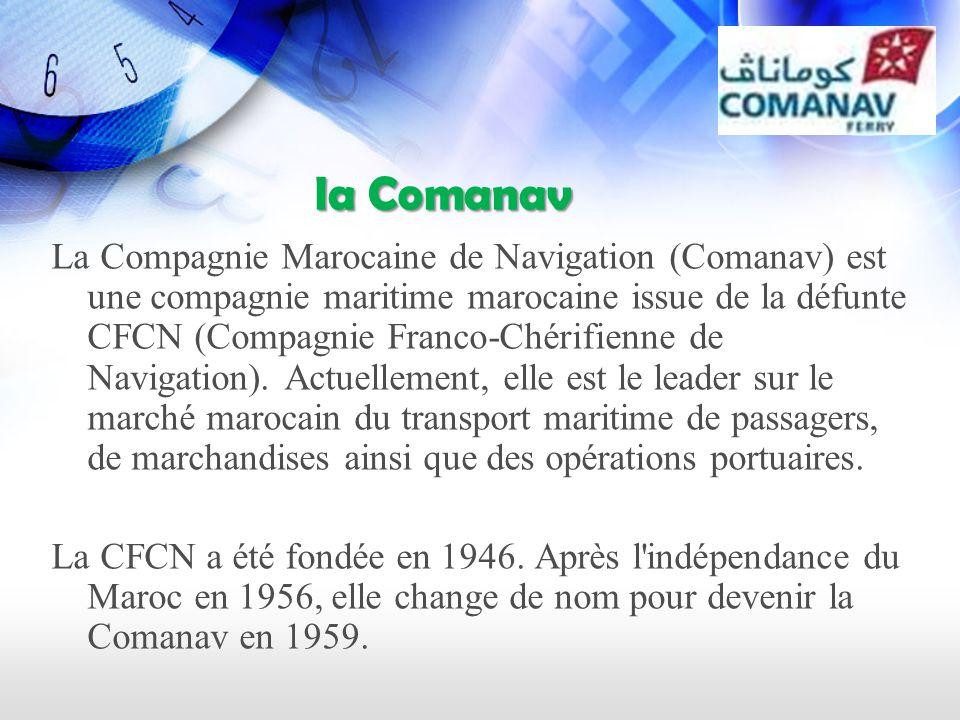 la Comanav la Comanav La Compagnie Marocaine de Navigation (Comanav) est une compagnie maritime marocaine issue de la défunte CFCN (Compagnie Franco-Chérifienne de Navigation).