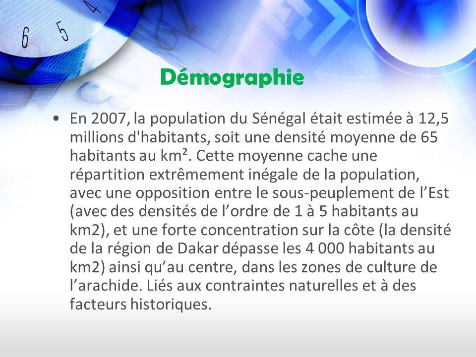 Démographie En 2007, la population du Sénégal était estimée à 12,5 millions d habitants, soit une densité moyenne de 65 habitants au km².