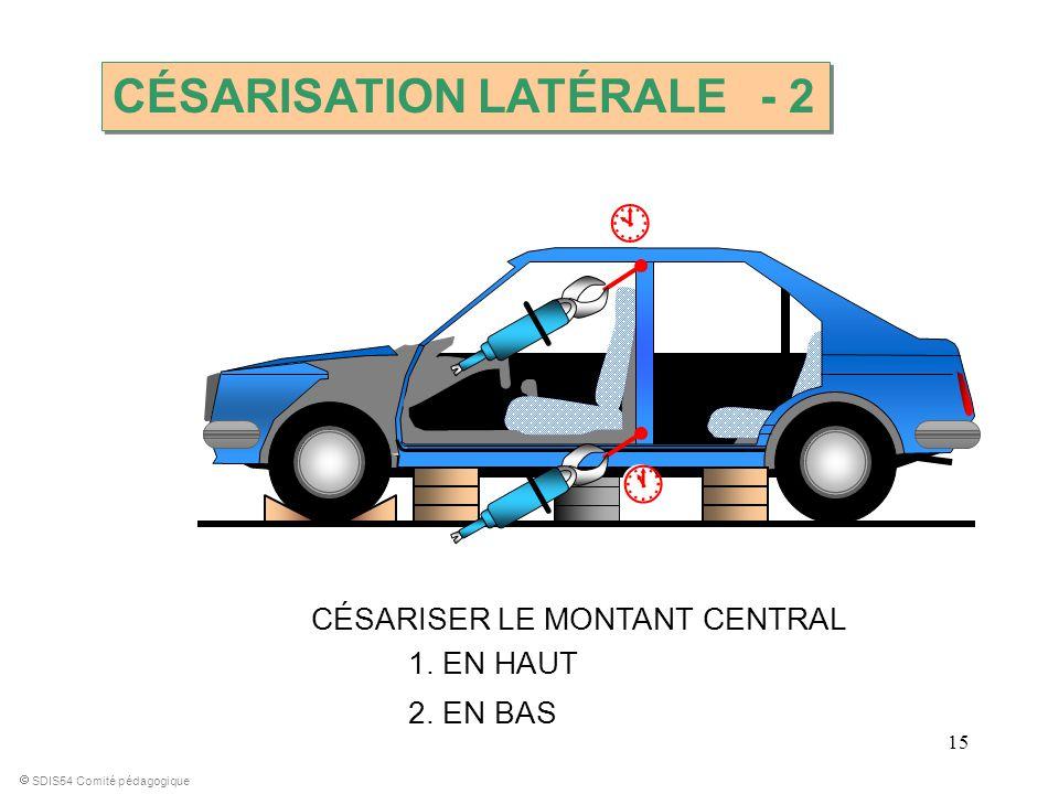 15 CÉSARISER LE MONTANT CENTRAL SDIS54 Comité pédagogique 1. EN HAUT 2. EN BAS CÉSARISATION LATÉRALE - 2