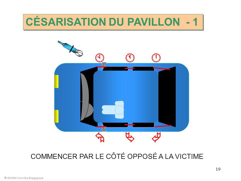 19 COMMENCER PAR LE CÔTÉ OPPOSÉ A LA VICTIME SDIS54 Comité pédagogique CÉSARISATION DU PAVILLON - 1