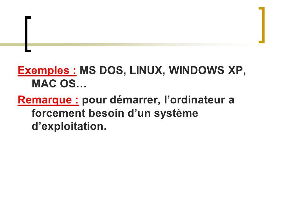 Exemples : MS DOS, LINUX, WINDOWS XP, MAC OS… Remarque : pour démarrer, lordinateur a forcement besoin dun système dexploitation.
