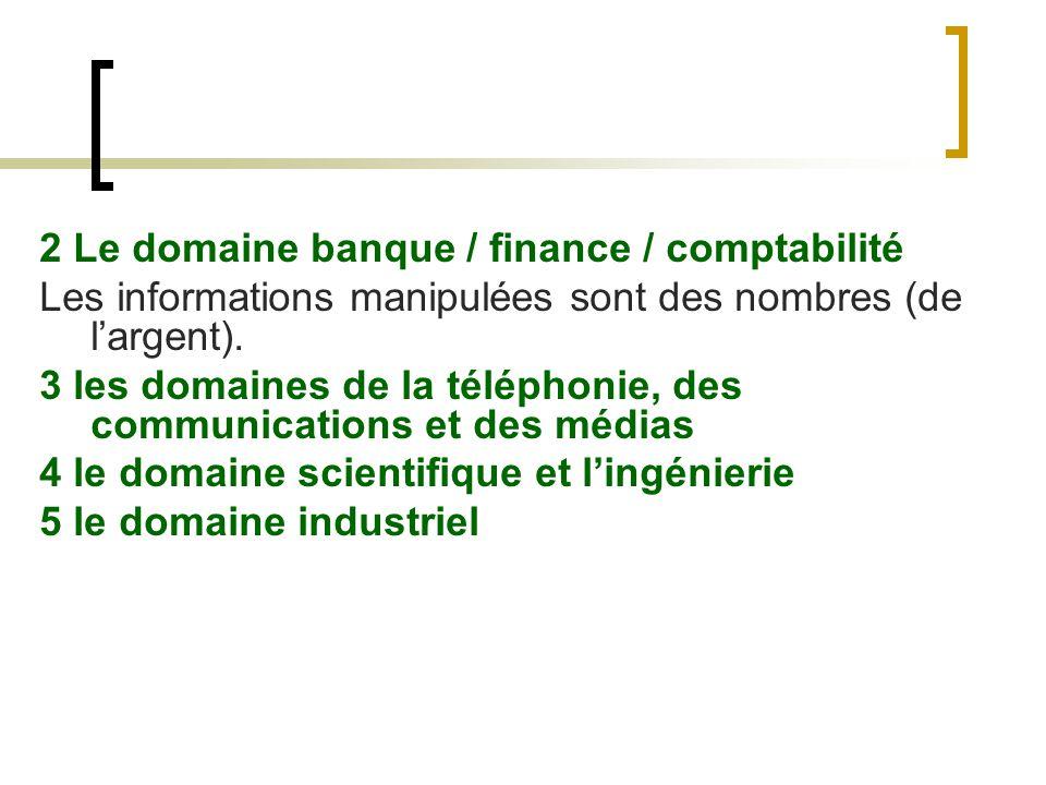 2 Le domaine banque / finance / comptabilité Les informations manipulées sont des nombres (de largent). 3 les domaines de la téléphonie, des communica