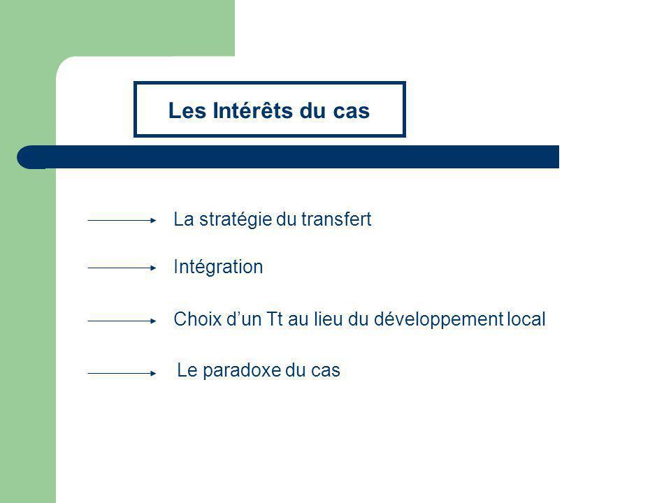La stratégie du transfert Cest un transfert à vocation dinfrastructure Un contrat dinvestissement direct sur 7 ans.