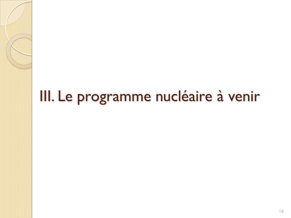 III. Le programme nucléaire à venir 16