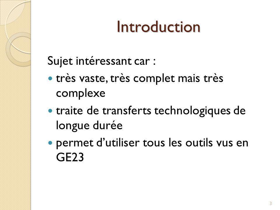 Introduction 3 Sujet intéressant car : très vaste, très complet mais très complexe traite de transferts technologiques de longue durée permet dutilise