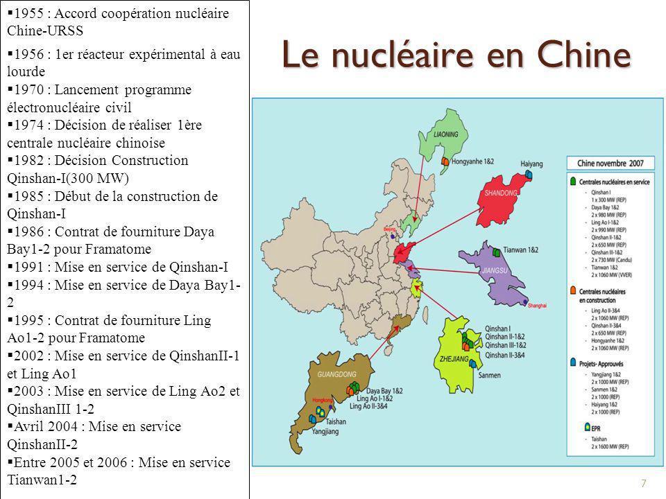 Le nucléaire en Chine 7 1955 : Accord coopération nucléaire Chine-URSS 1956 : 1er réacteur expérimental à eau lourde 1970 : Lancement programme électr