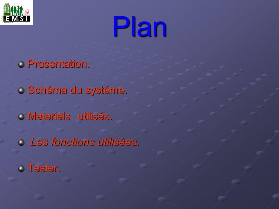 Plan Presentation. Schéma du systéme. Materiels utilisés. Les fonctions utilisées. Les fonctions utilisées.Tester.