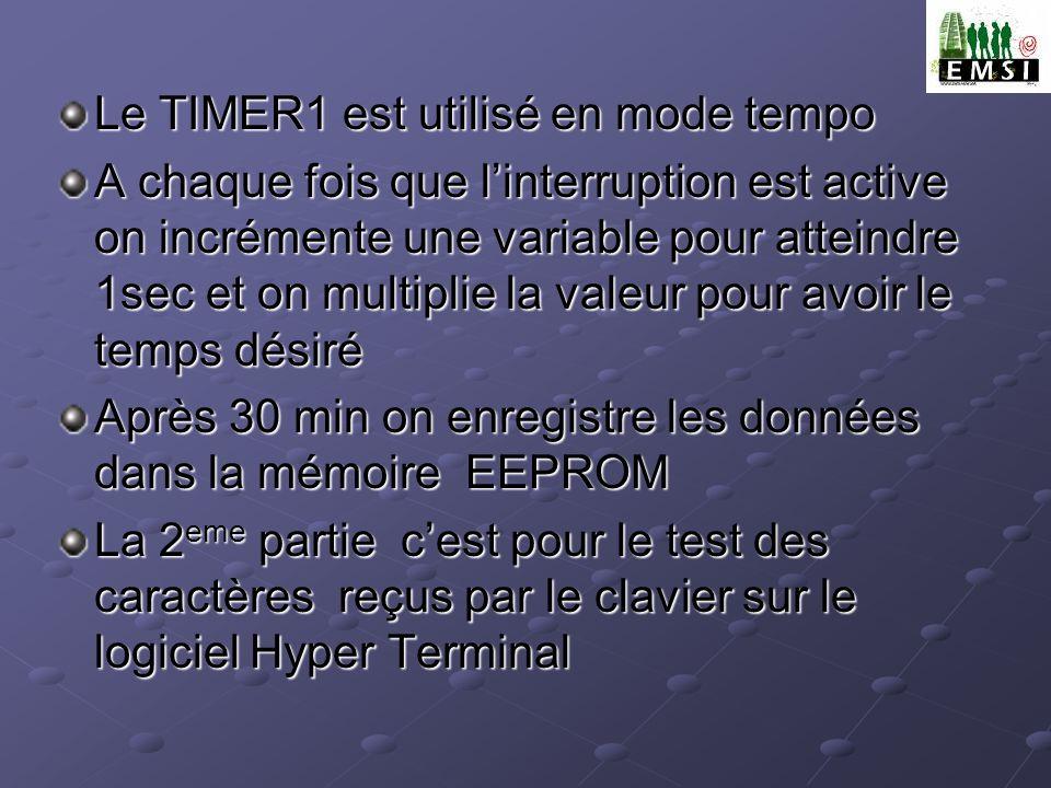 Le TIMER1 est utilisé en mode tempo A chaque fois que linterruption est active on incrémente une variable pour atteindre 1sec et on multiplie la valeu