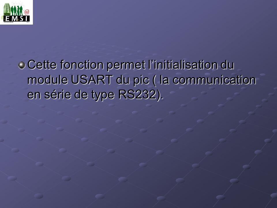 Cette fonction permet linitialisation du module USART du pic ( la communication en série de type RS232).