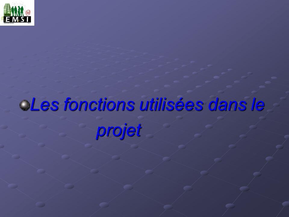 Les fonctions utilisées dans le projet projet