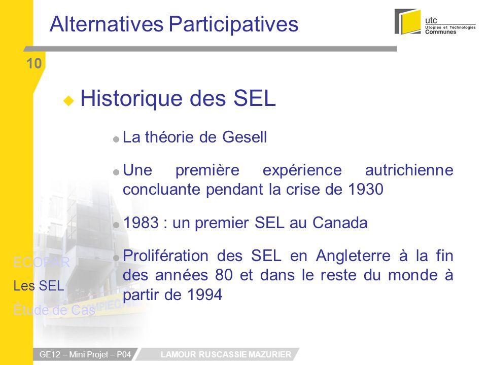 LAMOUR RUSCASSIE MAZURIER GE12 – Mini Projet – P04 Alternatives Participatives 10 Historique des SEL La théorie de Gesell Une première expérience autr