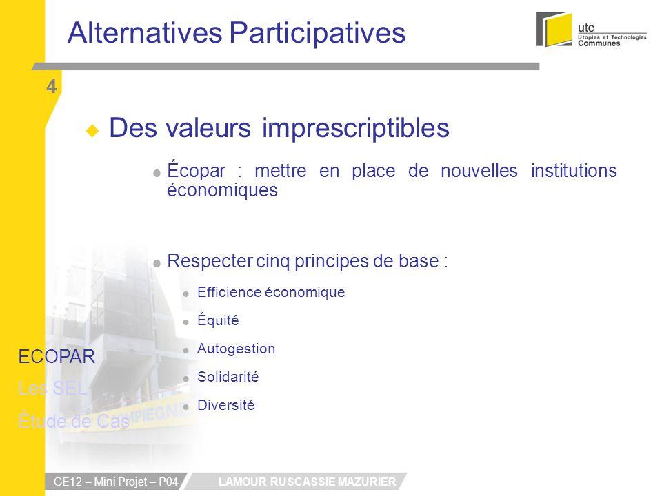 LAMOUR RUSCASSIE MAZURIER GE12 – Mini Projet – P04 Alternatives Participatives 4 Des valeurs imprescriptibles Écopar : mettre en place de nouvelles in