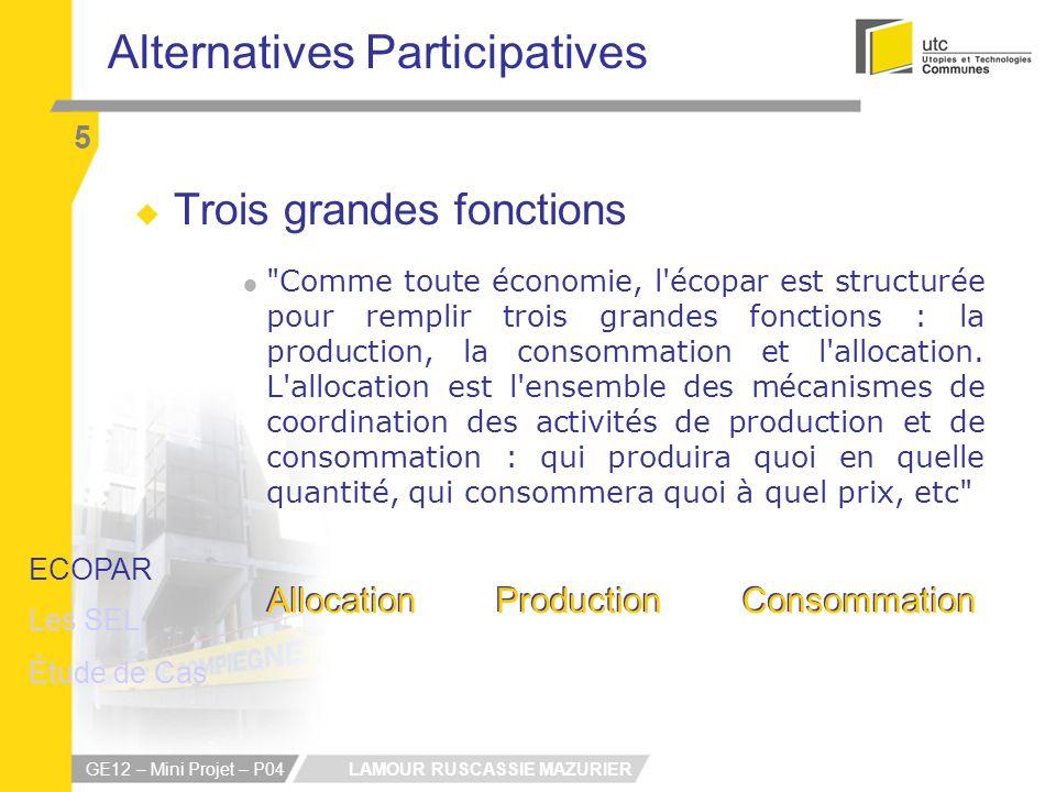 LAMOUR RUSCASSIE MAZURIER GE12 – Mini Projet – P04 Alternatives Participatives 5 Trois grandes fonctions Comme toute économie, l écopar est structurée pour remplir trois grandes fonctions : la production, la consommation et l allocation.