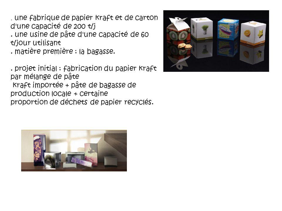 une fabrique de papier kraft et de carton d une capacité de 200 t/j.