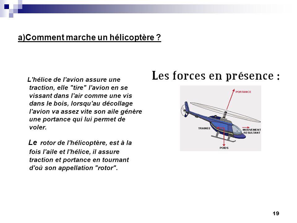 a)Comment marche un hélicoptère ? L'hélice de l'avion assure une traction, elle