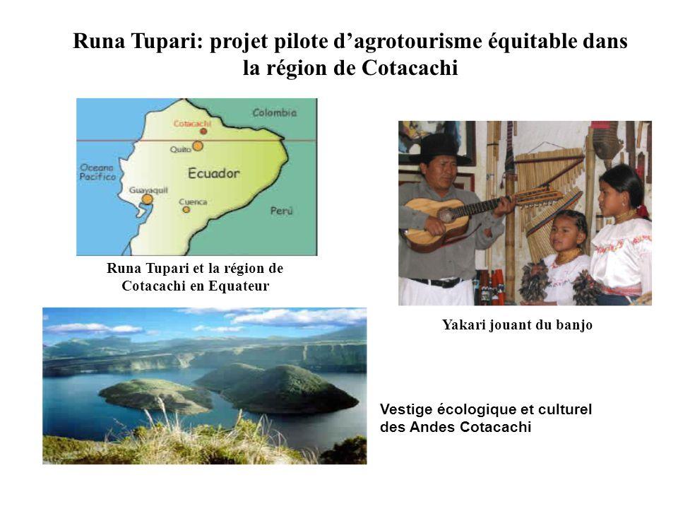 Runa Tupari: projet pilote dagrotourisme équitable dans la région de Cotacachi Yakari jouant du banjo Runa Tupari et la région de Cotacachi en Equateur Vestige écologique et culturel des Andes Cotacachi