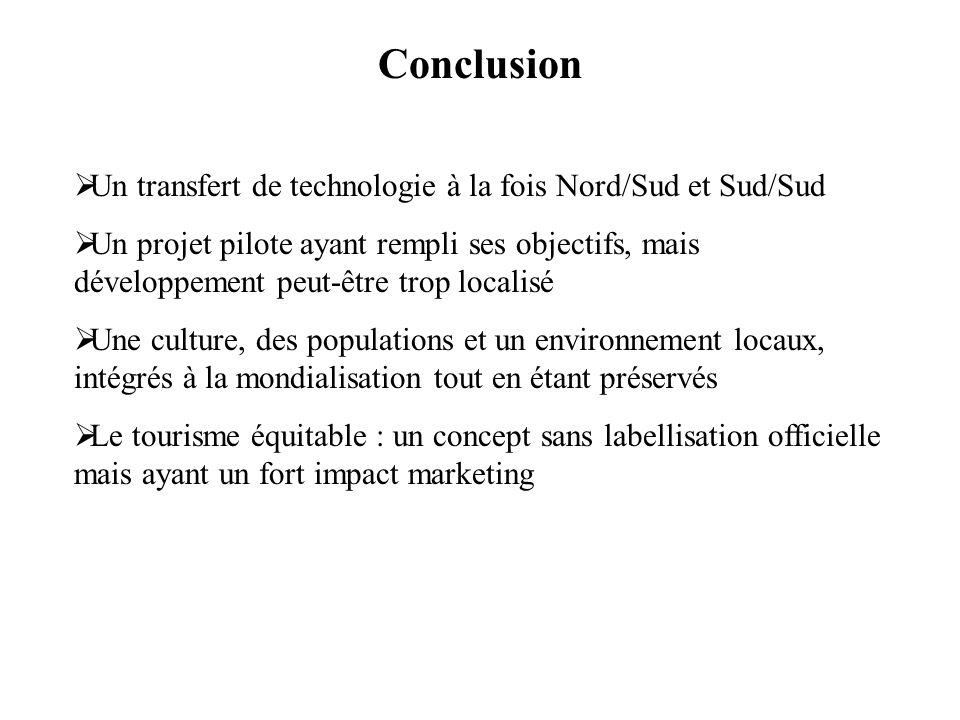 Conclusion Un transfert de technologie à la fois Nord/Sud et Sud/Sud Un projet pilote ayant rempli ses objectifs, mais développement peut-être trop lo