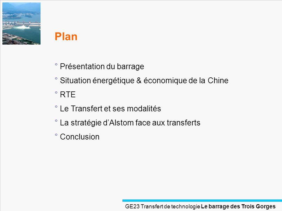 GE23 Transfert de technologie Le barrage des Trois Gorges Plan ° Présentation du barrage ° Situation énergétique & économique de la Chine ° RTE ° Le T