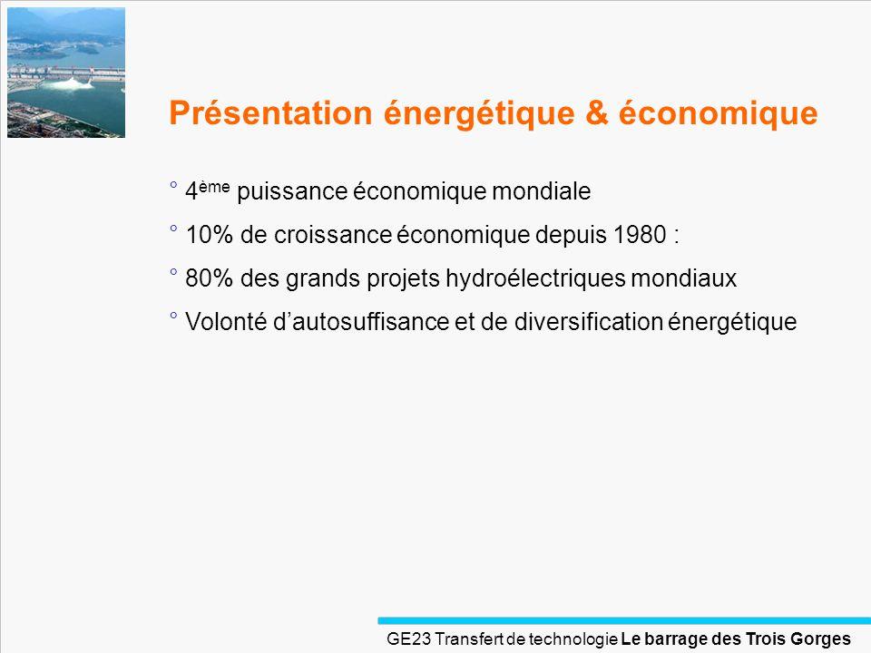 GE23 Transfert de technologie Le barrage des Trois Gorges Présentation énergétique & économique ° 4 ème puissance économique mondiale ° 10% de croissa