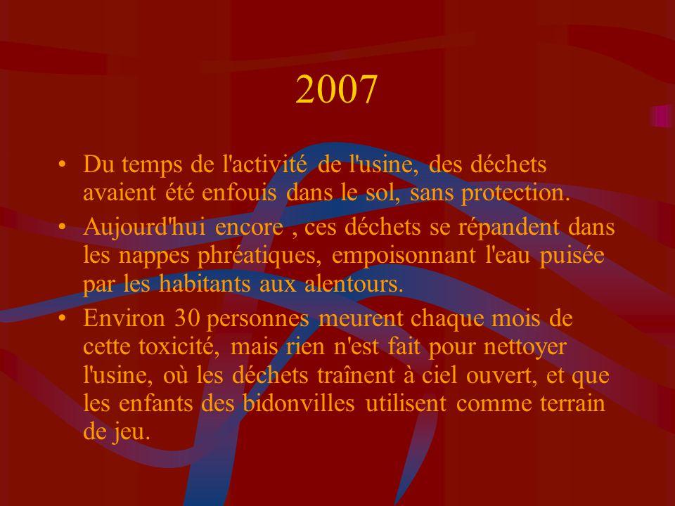 2007 Du temps de l'activité de l'usine, des déchets avaient été enfouis dans le sol, sans protection. Aujourd'hui encore, ces déchets se répandent dan