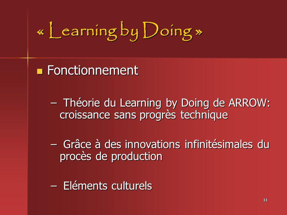 11 « Learning by Doing » Fonctionnement Fonctionnement – Théorie du Learning by Doing de ARROW: croissance sans progrès technique – Grâce à des innova