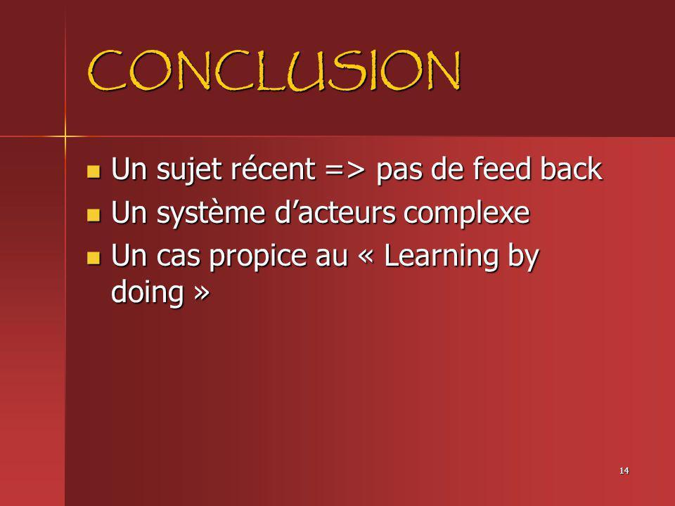 14 CONCLUSION Un sujet récent => pas de feed back Un sujet récent => pas de feed back Un système dacteurs complexe Un système dacteurs complexe Un cas