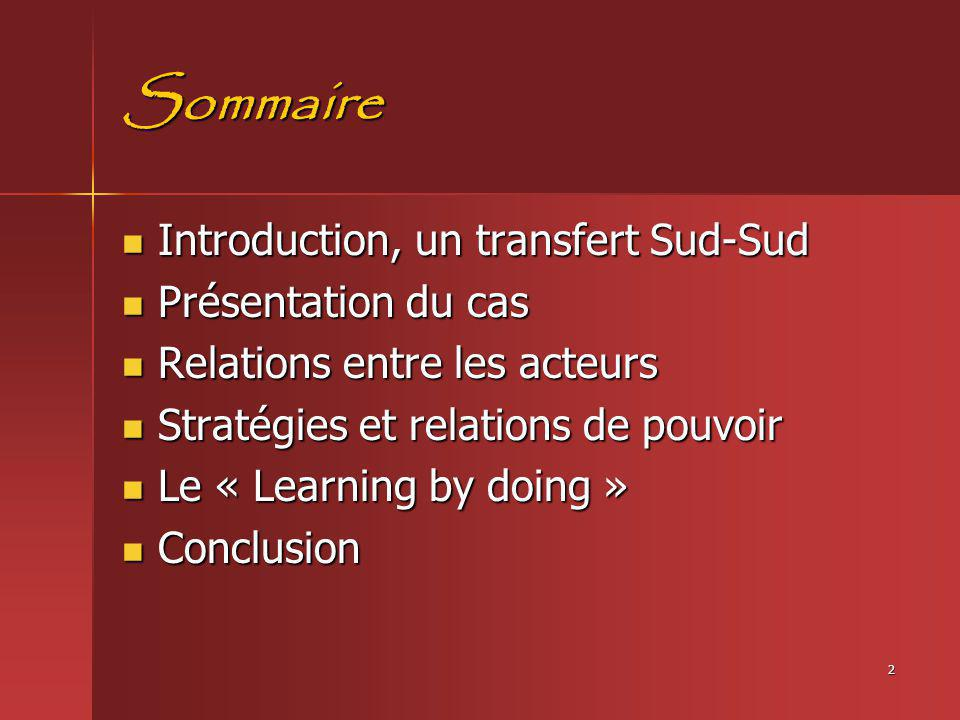 2 Sommaire Introduction, un transfert Sud-Sud Introduction, un transfert Sud-Sud Présentation du cas Présentation du cas Relations entre les acteurs R