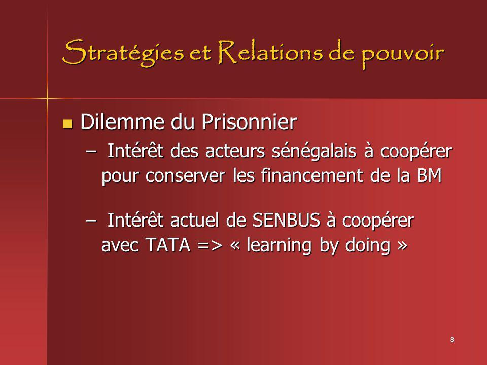 8 Stratégies et Relations de pouvoir Dilemme du Prisonnier Dilemme du Prisonnier – Intérêt des acteurs sénégalais à coopérer pour conserver les financ