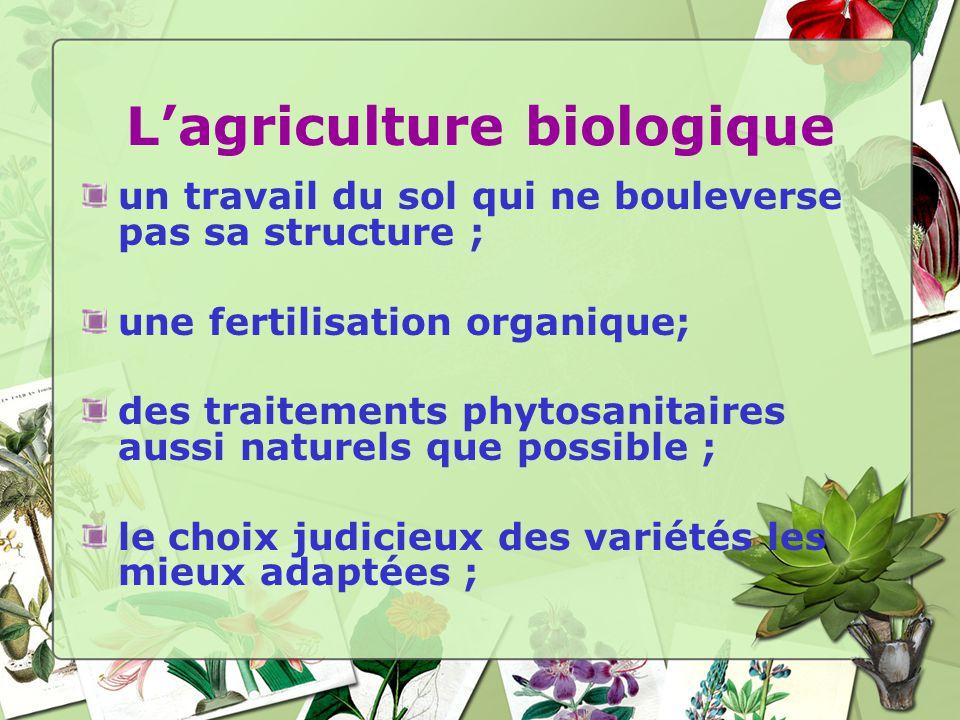 un travail du sol qui ne bouleverse pas sa structure ; une fertilisation organique; des traitements phytosanitaires aussi naturels que possible ; le choix judicieux des variétés les mieux adaptées ;