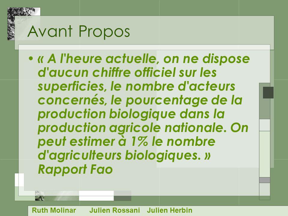 Avant Propos « A l heure actuelle, on ne dispose d aucun chiffre officiel sur les superficies, le nombre d acteurs concernés, le pourcentage de la production biologique dans la production agricole nationale.