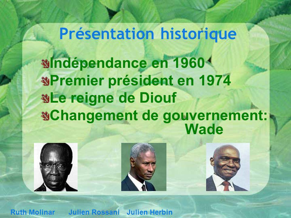 Présentation historique Indépendance en 1960 Premier président en 1974 Le reigne de Diouf Changement de gouvernement: Wade Ruth MolinarJulien RossaniJ
