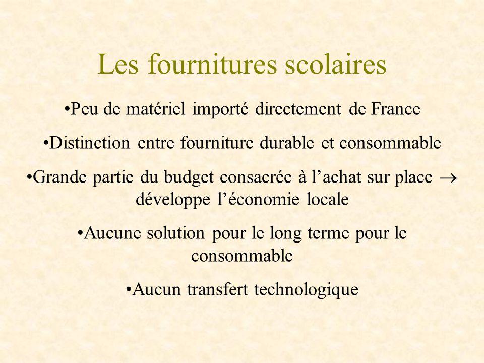 Les fournitures scolaires Peu de matériel importé directement de France Distinction entre fourniture durable et consommable Grande partie du budget co