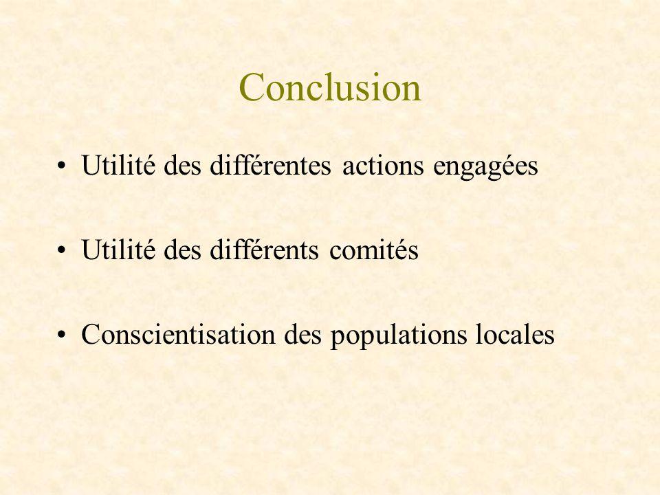 Conclusion Utilité des différentes actions engagées Utilité des différents comités Conscientisation des populations locales