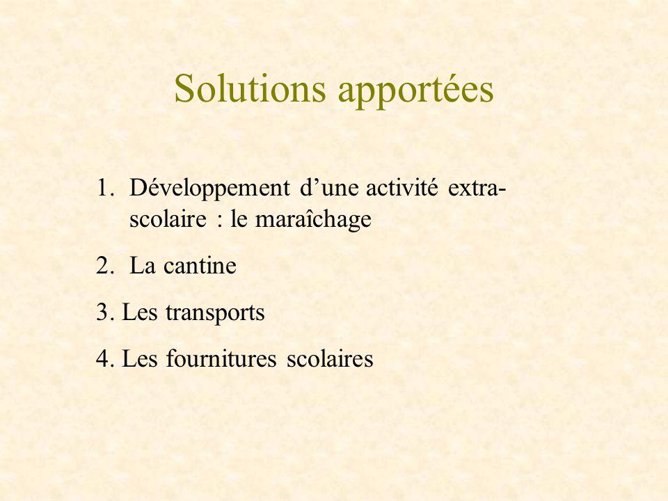 Solutions apportées 1.Développement dune activité extra- scolaire : le maraîchage 2.La cantine 3. Les transports 4. Les fournitures scolaires