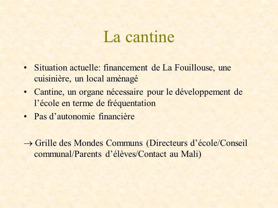 La cantine Situation actuelle: financement de La Fouillouse, une cuisinière, un local aménagé Cantine, un organe nécessaire pour le développement de l