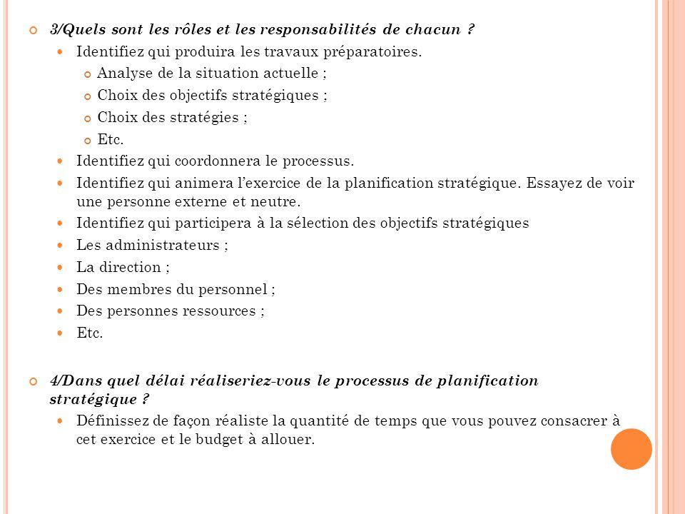 3/Quels sont les rôles et les responsabilités de chacun ? Identifiez qui produira les travaux préparatoires. Analyse de la situation actuelle ; Choix