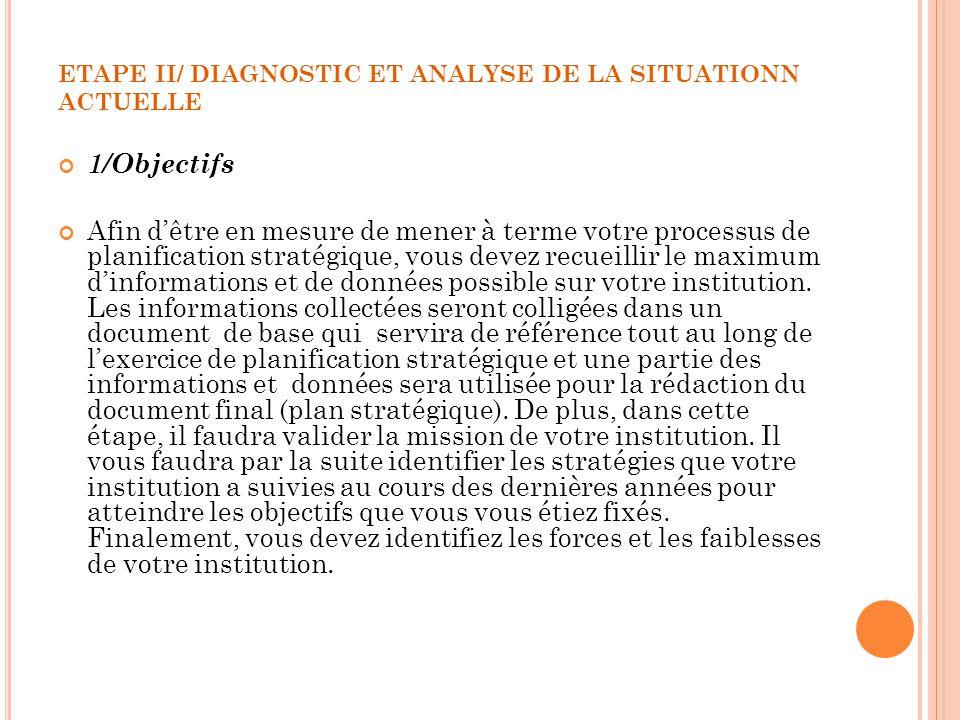 ETAPE II/ DIAGNOSTIC ET ANALYSE DE LA SITUATIONN ACTUELLE 1/Objectifs Afin dêtre en mesure de mener à terme votre processus de planification stratégiq