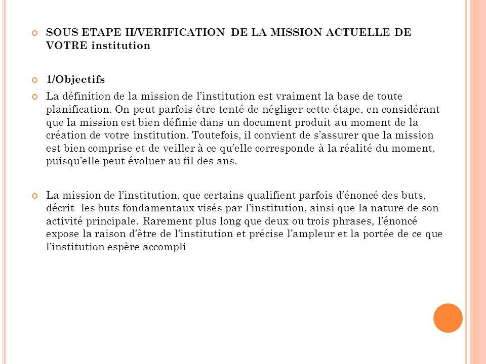 SOUS ETAPE II/VERIFICATION DE LA MISSION ACTUELLE DE VOTRE institution 1/Objectifs La définition de la mission de linstitution est vraiment la base de