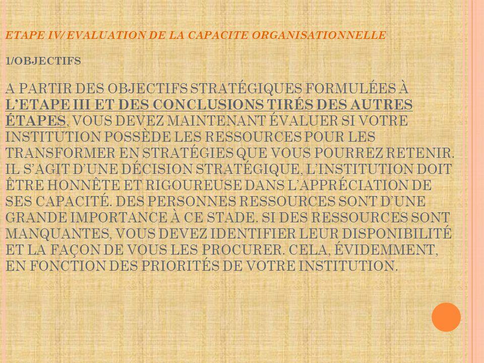 ETAPE IV/ EVALUATION DE LA CAPACITE ORGANISATIONNELLE 1/OBJECTIFS A PARTIR DES OBJECTIFS STRATÉGIQUES FORMULÉES À LETAPE III ET DES CONCLUSIONS TIRÉS