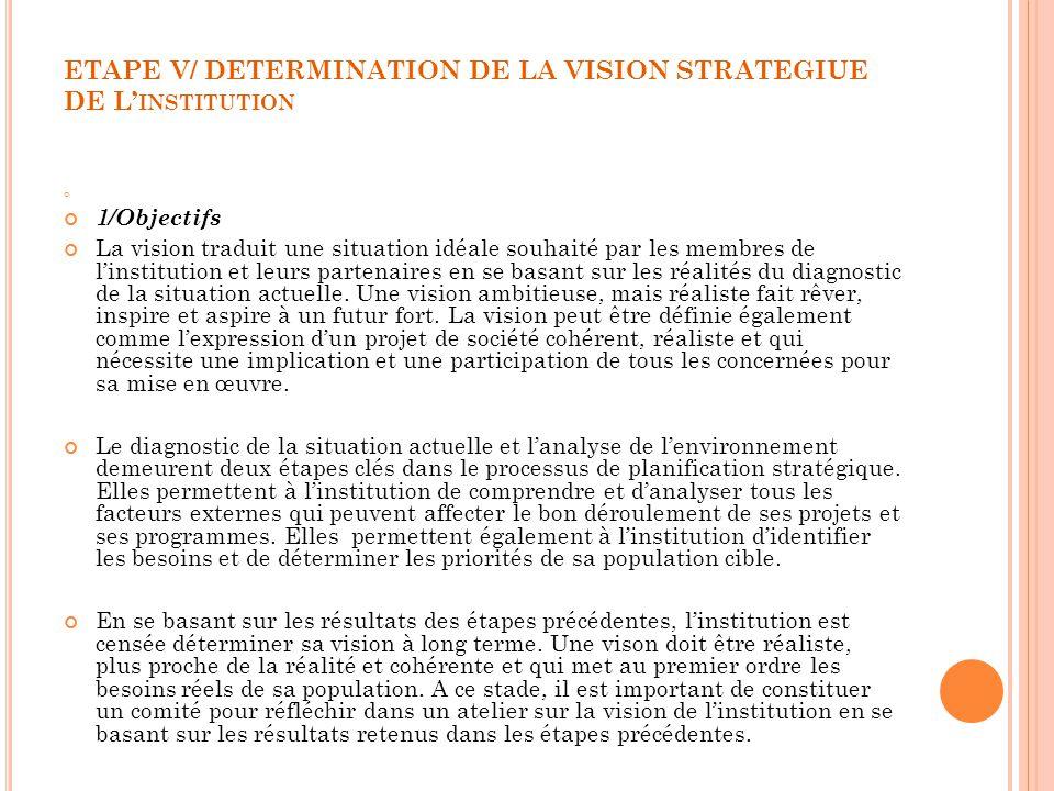 ETAPE V/ DETERMINATION DE LA VISION STRATEGIUE DE L INSTITUTION 1/Objectifs La vision traduit une situation idéale souhaité par les membres de linstit