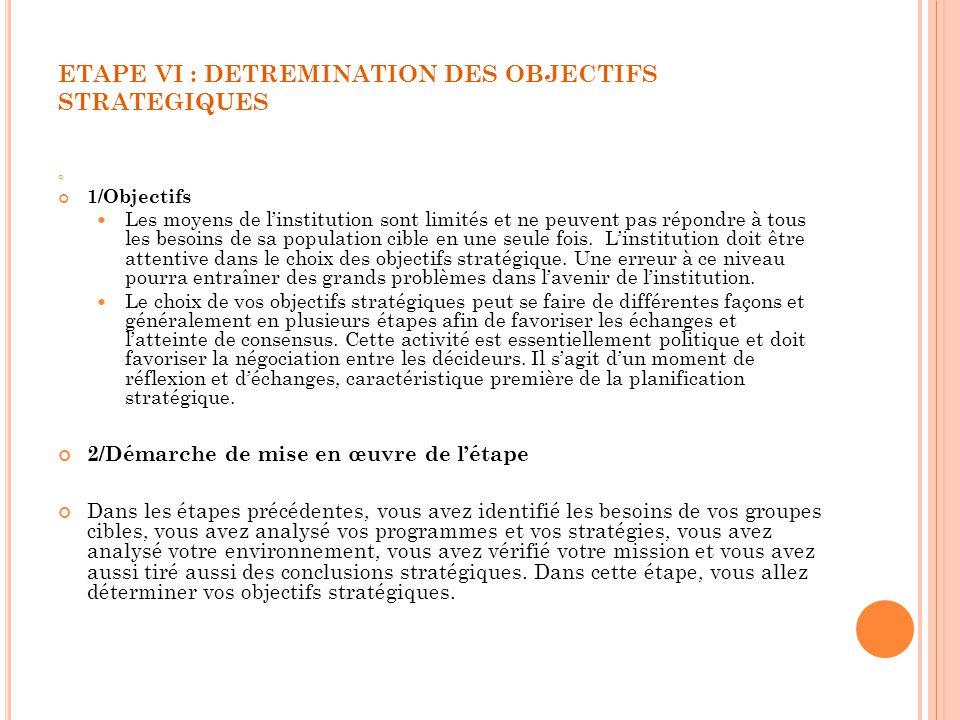 ETAPE VI : DETREMINATION DES OBJECTIFS STRATEGIQUES 1/Objectifs Les moyens de linstitution sont limités et ne peuvent pas répondre à tous les besoins