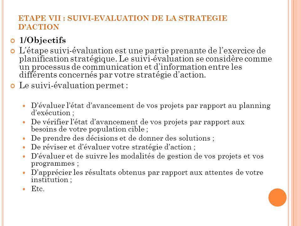 ETAPE VII : SUIVI-EVALUATION DE LA STRATEGIE DACTION 1/Objectifs Létape suivi-évaluation est une partie prenante de lexercice de planification stratég