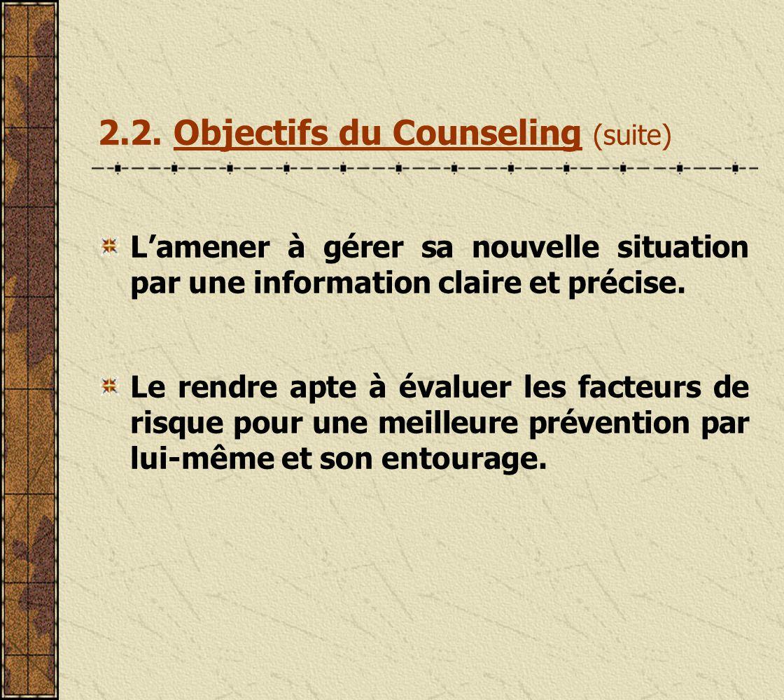 2.2.Objectifs du Counseling Prévenir la transmission de linfection par le VIH.