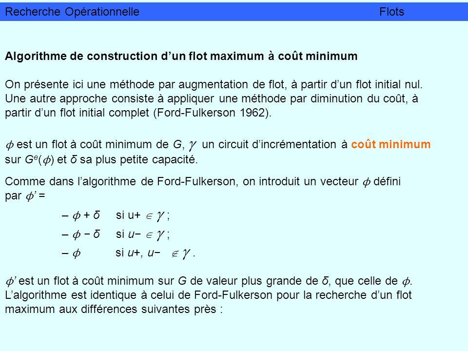 Algorithme de construction dun flot maximum à coût minimum On présente ici une méthode par augmentation de flot, à partir dun flot initial nul. Une au