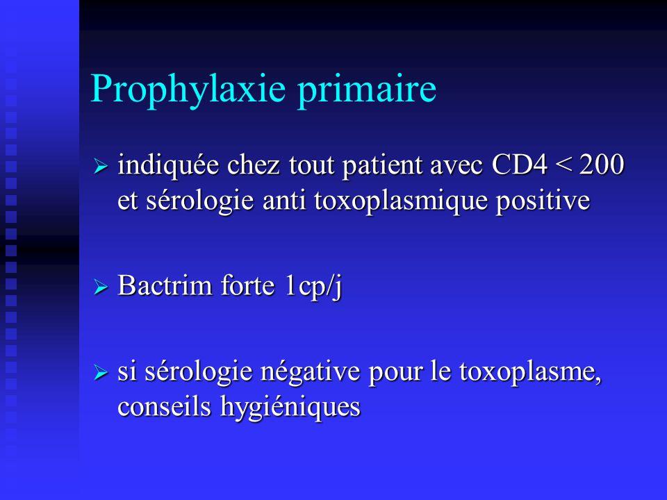 Prophylaxie primaire indiquée chez tout patient avec CD4 < 200 et sérologie anti toxoplasmique positive indiquée chez tout patient avec CD4 < 200 et s