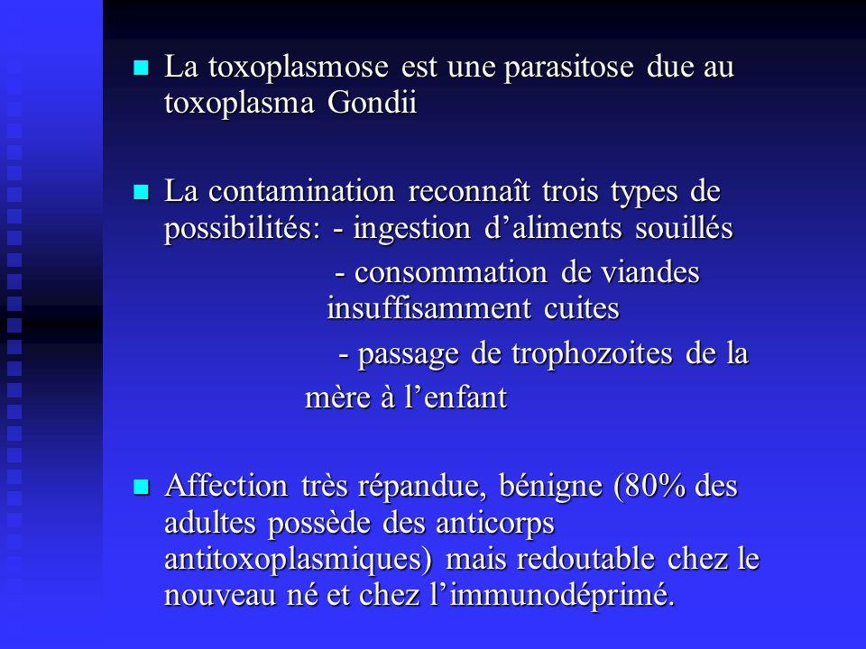 La toxoplasmose est une parasitose due au toxoplasma Gondii La toxoplasmose est une parasitose due au toxoplasma Gondii La contamination reconnaît tro